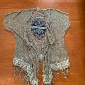 gray cardigan with design on back.holister no size